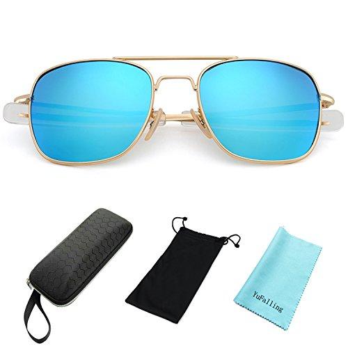 YuFalling Retro Polarized Aviator Sunglasses for Men and Women (gold frame/blue lens, - Inexpensive Best Polarized Sunglasses
