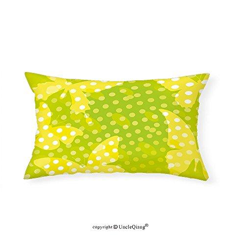 VROSELV Custom pillowcasesDigital Decor Modern Design with Butterfly Shapes and Dots Print for Bedroom Living Room Dorm Neon Light Green Yellow and (Tatum Bath Fixture)