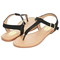 Floopi Womens Summer Flat Sandals T-Strap Thong Buckle Ankle Strap Sandal