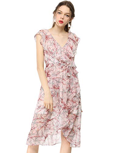- Allegra K Women's Floral Print Deep V Neck Chiffon Ruffle Midi Wrap Dress Pink L (US 14)
