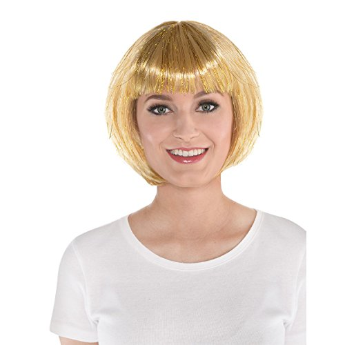 AMSCAN Gold Wig (One Size Fits All) Short Hair Wigs (BOB) Hairstyles Costume Accessories, Costumes for Women (Halloween, New Years, and Dress Up).