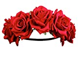 BABEYOND Rose Flower Crown Garland Hair Wreaths Headbands for Wedding Festivals Art Deco Prom (Red)