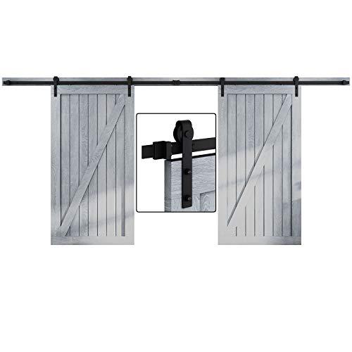 EaseLife 16 FT Double Door Sliding Barn Door Hardware Kit,Heavy Duty,Ultra Hard Sturdy,Easy Install,Slide Smoothly Quietly,Fit Double 48″ Wide Door (16FT Track Double Door Kit)