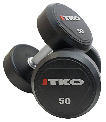 Solid Steel Urethane Dumbbells in Black (100 lbs.) by TKO