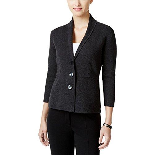 Alfani Womens Shawl Collar 3/4 Sleeve Three-Button Blazer Black L Alfani Jacket