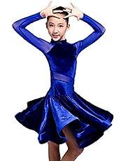 GD3102 Kid Latin Ballroom Dance Professional Competition/Race/Performance Dress for Girl (net Yarn and Velvet Splicing Design)