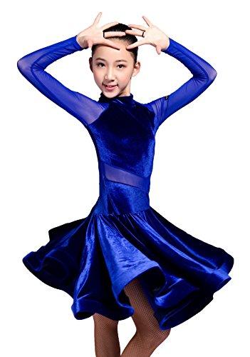 SCGGINTTANZ GD3102 Kid Latin Ballroom Party Dance Professional net Yarn and Velvet Splicing Design Performance Dress for Girl ((FBA) Blue, 120)