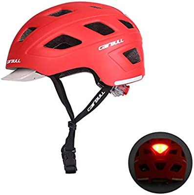 Cairbull Hombres/Mujeres Nuevo Ciclismo Casco con Visera L(56-61cm) Mountain Road Bike Safety Riding Helmet con luz led M(54-58)
