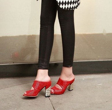 Un,rouge 7 US 37.5 EU 4.5 UK SCLOTHS été Tongs Femme Chaussures Diahommet artificiel talon haut avec épais