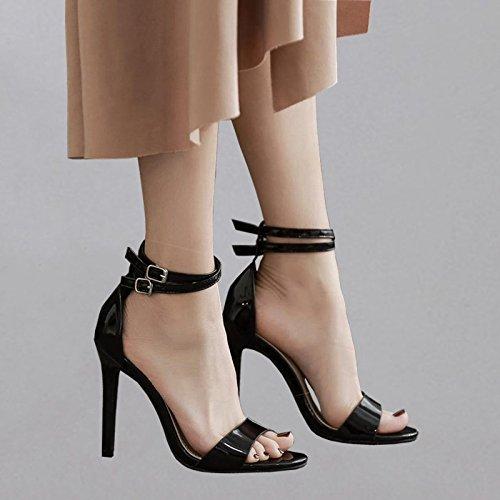 YMFIE Laca Negra Sexy Piel con Dedos de tacón Alto Sandalias señoras de Moda de Verano Zapatos de tacón Alto,35 UE 39 EU