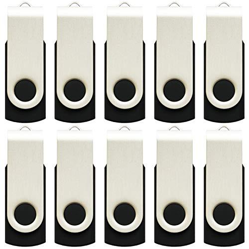 Enfain 16GB USB 2.0 Flash Memory Stick Drive Swivel Thumb Drives Bulk 10 Pack, with LED Indicator, 12 x Removable White Labels (Black)