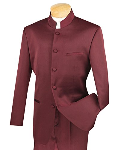 VINCI Men's 5 Button Mandarin Banded Collar Classic-Fit Tuxedo Suit New [Color Burgundy | Size: 40 Regular/34 Waist] by VINCI