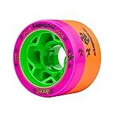 Reckless Wheels - Morph - 4 Pack of 38mm x 59mm Dual-Hardness Roller Skate Wheels   84A/88A   Magenta/Orange