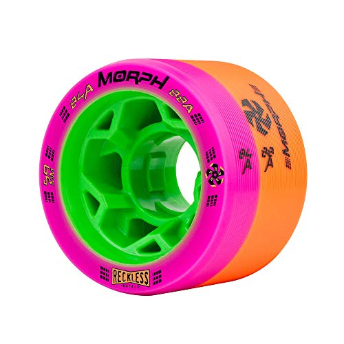 Reckless Wheels - Morph - 4 Pack of 38mm x 59mm Dual-Hardness Roller Skate Wheels | 84A/88A | Magenta/Orange