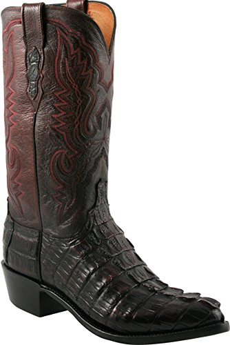 Lucchese Mens N1104.R4 1883 Black Cherry Caiman Giant Tail Crocodile Cowboy Boots