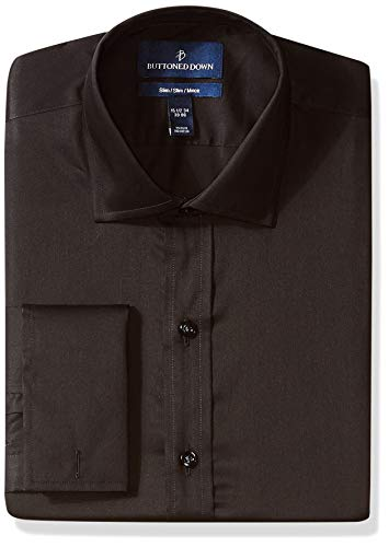 BUTTONED DOWN Men's Slim Fit French Cuff Micro Twill Non-Iron Dress Shirt, Black, 17