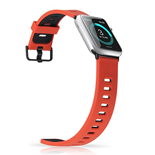 1 Mens Multi Band - Apple Watch Sport Band 42mm,Soft Silicone Replacement Strap with Black Clasp Women Men for iWatch Series 3 Series 2 Series 1 (Red/Black)
