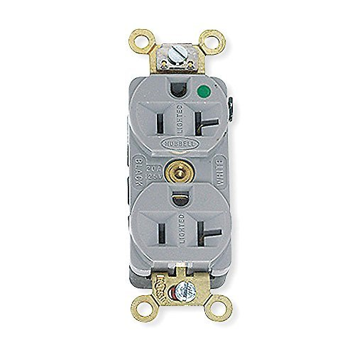 Receptacle, Compact, Duplex, 20A, 125V, GY by Hubbell Wiring Device-Kellems ()