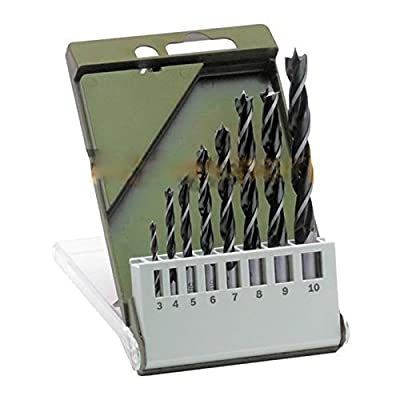 "8 Pcs Brad Point Drill Bit Set 1/8"" To 3/8"" Flat Wood Boring 3mm-10mm Plastic W Case Brand New"