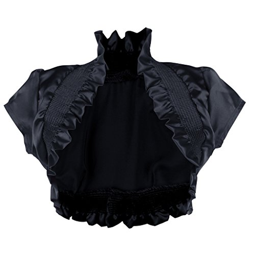 Stretch Satin Bolero - Imagenation Charmeuse Satin Short Sleeve Shrug Bolero, Large, Black