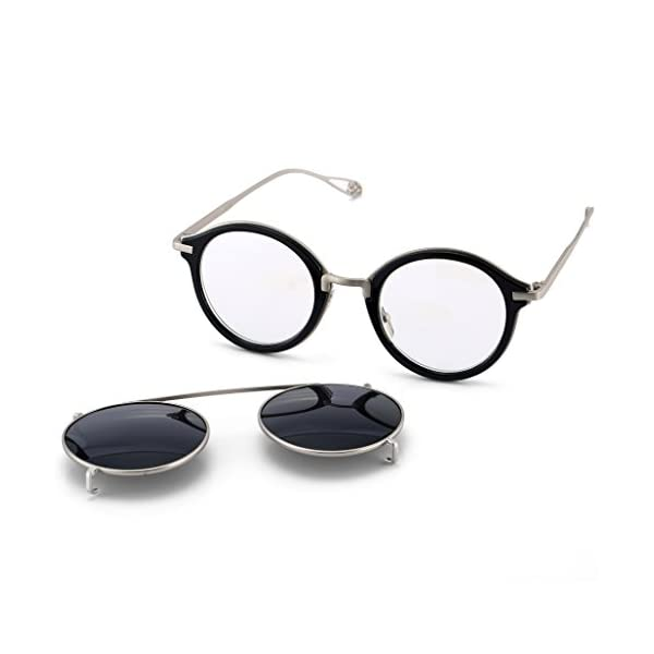 Dollger Clip On Sunglasses Steampunk Style and Round Mirrored Lens 5