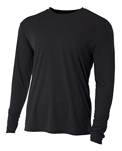 A4 Men's Cooling Performance Crew Long Sleeve T-Shirt, Black, -