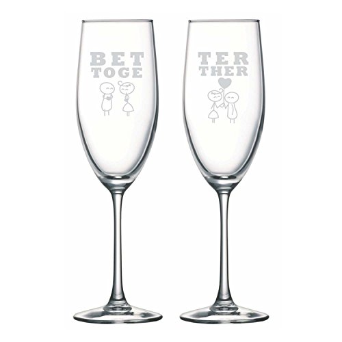 - YaYa cafe Cute Wedding Anniversary Champagne Flutes for Bride Groom Couple Better Together Champagne Glasses Set of 2 | Anniversary Husband Wife, Girlfriend Boyfriend