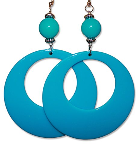 Neon Fluorescent Large Retro Hoop Dangle Costume Earring (Neon Blue) ()