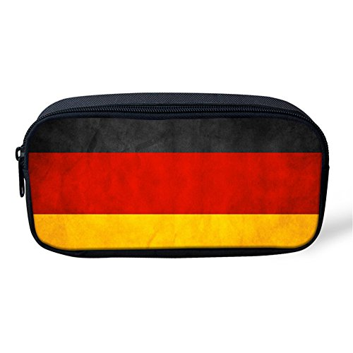 (HUGS IDEA German Flag Pattern Pencil Case Pen Box Stationery Holder Cosmetic Makeup Storage Bag)
