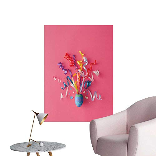 SeptSonne Vinyl Artwork Decorate Easter Egg Party Streamers on Pink backgroun Easy to Peel Easy to Stick,12