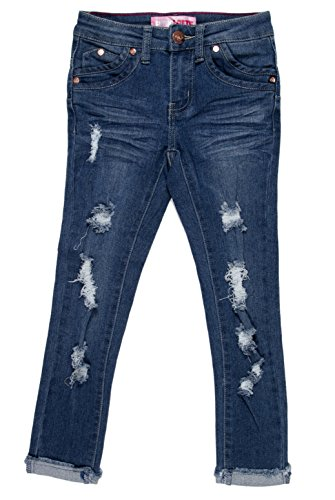 GDP-17-83568B - Girls' Stretch 6 Pockets Basic Premium Ripped Skinny Jeans in Washed M. Blue Size 14 by Fashion2Love