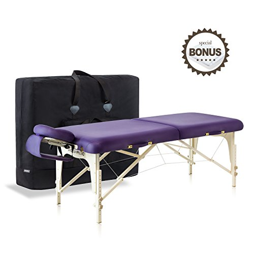 Dr.lomilomi Delux Maple Hardwood Portable Massage Table Spa Bed 101 Package (101, English violet)