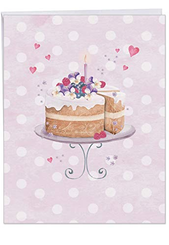 - XL Anniversary Card - 'Watercolor Cake' Featuring a Painted Beautiful Celebration Cake and Candle; With Envelope (Extra Large Size: 8.5