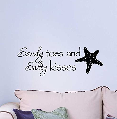 Ideogram Designs Wall Decal Sandy Toes and Salty Kisses. Cute Ocean  Inspired Vinyl Wall Decor Quotes Sayings Inspirational Wall Art
