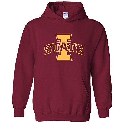 Campus Hooded Sweatshirt - UGP Campus Apparel AH02 - Iowa State Cyclones Primary Logo Hoodie - Small - Cardinal Red