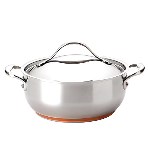 Anolon Nouvelle Copper Stainless Steel 4-Quart Covered Chef Casserole 4 Qt Stainless Covered Casserole