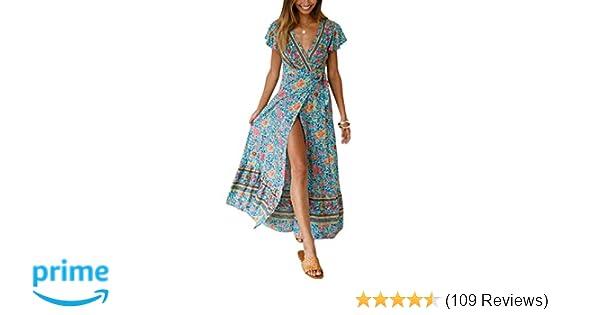 621dcf88e17b9 Yidarton Women's Summer Bohemian Wrap V Neck Floral Printed Short Sleeve  Beach Casual Long Maxi Dresses