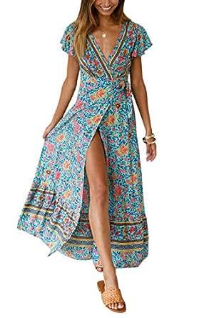 96e418ba5e532 Yidarton Women's Summer Bohemian Wrap V Neck Floral Printed Short Sleeve  Beach Casual Long Maxi Dresses
