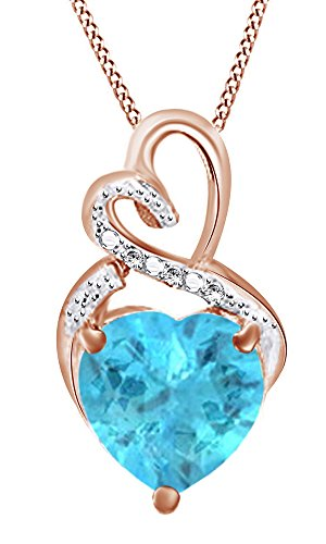 Cubic Heart Zirconia Aquamarine (Jewel Zone US Simulated Aquamarine & Cubic Zirconia Heart Pendant in 14k Rose Gold Over Sterling Silver (4.09 Cttw))