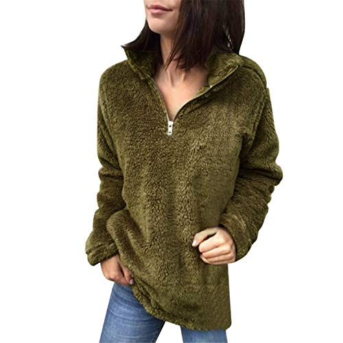 (TIFENNY 2019 Pullover Women's Fluffy Tops Stand Neck Zipper Sweatshirt Loose Sweater Blouse)
