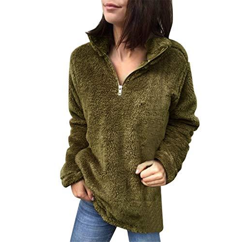 TIFENNY 2019 Pullover Women's Fluffy Tops Stand Neck Zipper Sweatshirt Loose Sweater Blouse -
