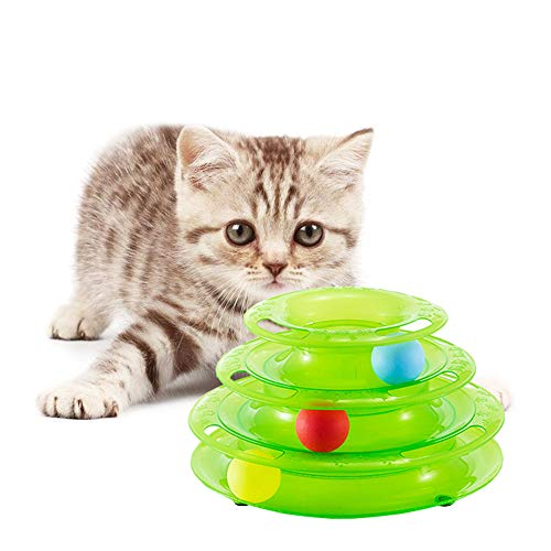 BBDOGO Three Layers Tower of Tracks Pet Toys Intelligence Crazy Play Ball Tray Toys CW067 (Green) ()
