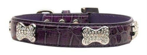 Mirage Pet Products Faux Croc Crystal Bone Collars, Purple, Large