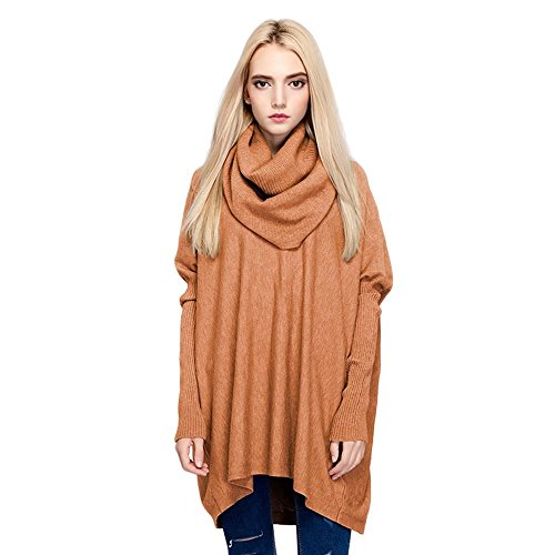 SITENG Womens Turtleneck Fitted Long Sleeve Cowl Neck Oversized Loose Pullover Knit Top Sweater,Small,Coffee