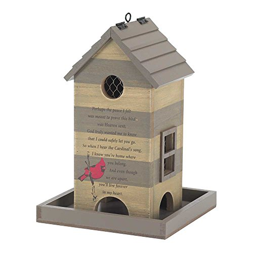 Shake Roof In Heart Forever Cardinal Beige Stripe 7.5 x 11 Wood Outdoor Remembrance Bird Feeder - Cardinal Wood Feeder