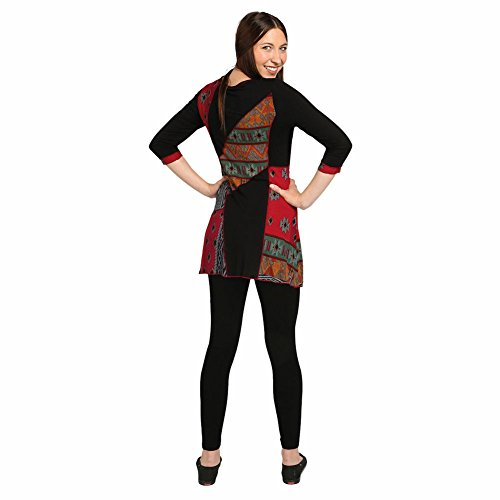 Women's Tunic Top - Festival Tribal Black & Multicolor 3/4 Sleeve Shirt - 3X