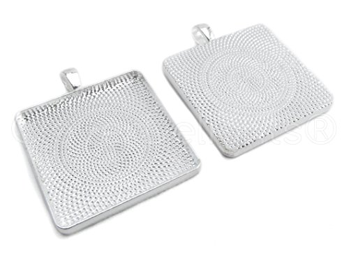 - CleverDelights 10 30mm Square Pendant Trays - Shiny Silver Color - 1 3/16 Inch - 30mm - Pendant Blanks Base Cameo Bezel Settings Photo Jewelry - Custom Jewelry Making - 1 3/16