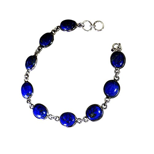 - Jewelryonclick Natural Lapis Lazuli Sterling Silver Bracelets For Women Spring Ring Clasps Bezel Style