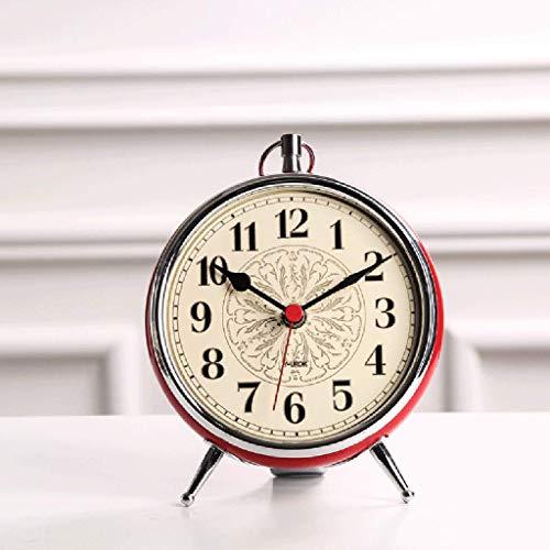 HCGZ Retro Desk Clock, European Creative Round Quality Kids Bedside Desk Table Silent Non Ticking Quartz Clock Accurate Sweep Movement-A ()