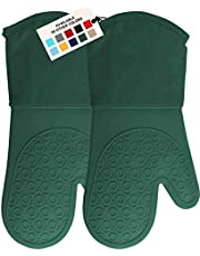 HOMWE Extra Long Professional Silicone Oven Mitt, Oven Mitts with Quilted Liner, Heat Resistant Pot Holders, Flexible Oven Gloves, 1 Pair